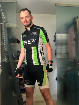 Switch in green, white and black Crane lycra kit