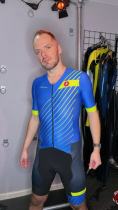 Switch standing in Castelli Free Sanremo Tri Suit close up